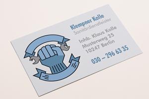 Gestaltung von Geschenkartikeln und Geschäftsunterlagen Visitenkarte